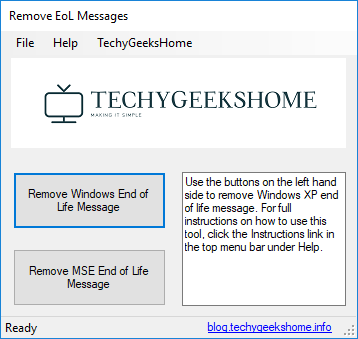 Remove Windows XP End of Life Message Utility