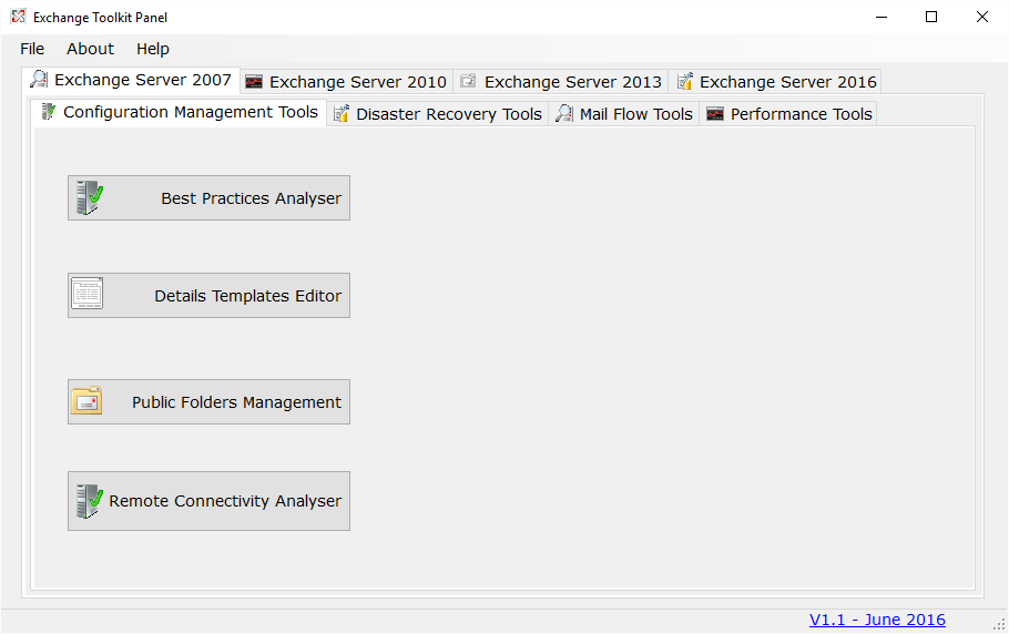 Click to view Exchange Toolkit Panel screenshots