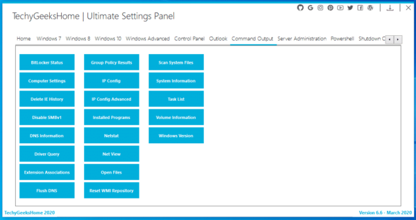 Ultimate Settings Panel Command Prompts