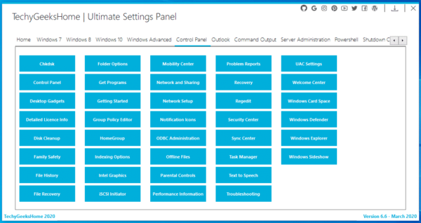 Ultimate Settings Panel Control Panel