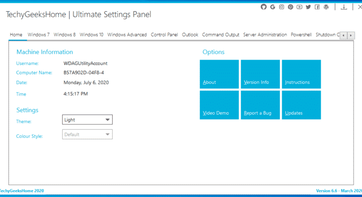 Ultimate Settings Panel Homepage