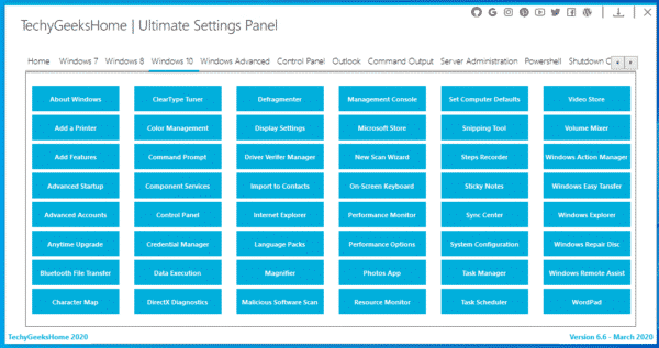 Ultimate Settings Panel Windows 10
