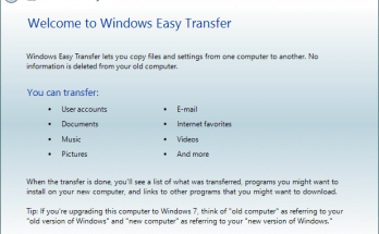 Windows Easy Transfer Start Screen