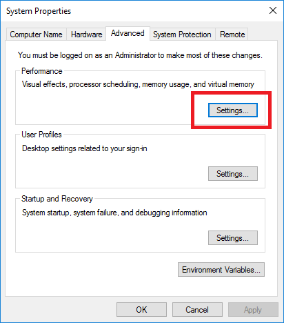 Windows System Properties Advanced Settings