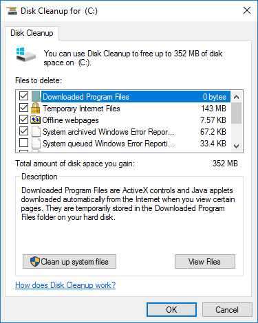 Disk Space Cleanup Options