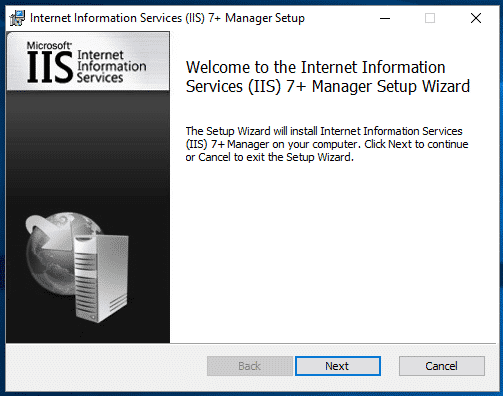 IIS extension installation wizard page 1