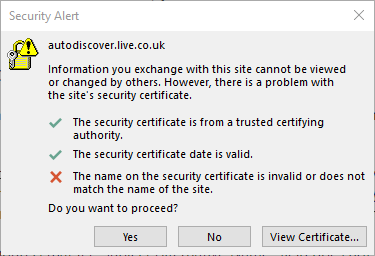 Outlook Certificate Autodiscovery Error 1