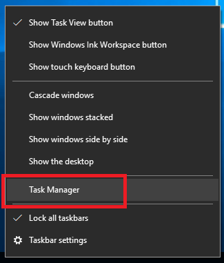 Windows 10 Task Manager from Taskbar