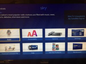 Sky HD+ Services Screen