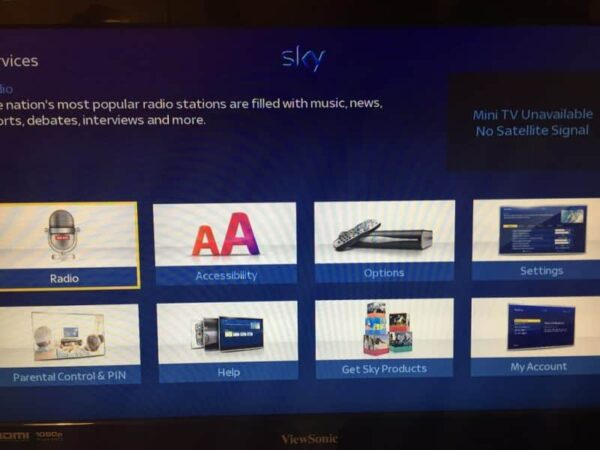 Sky HD+ factory reset home page