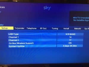 Sky+ HD Engineers Screen