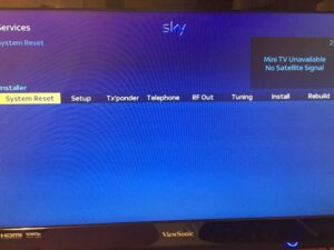 Sky+ HD System Reset Screen