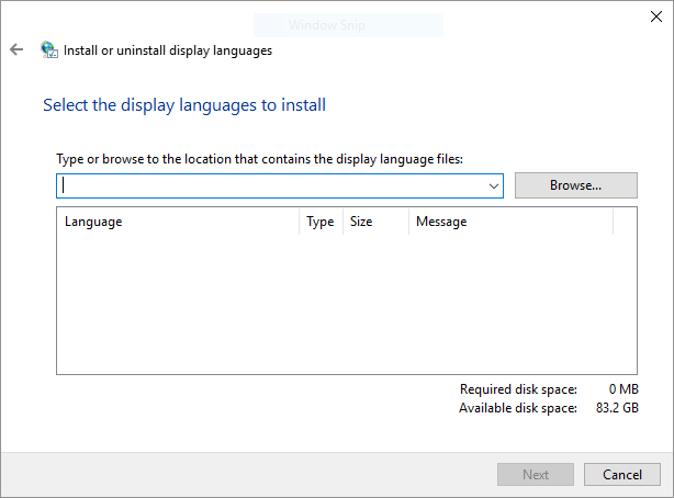Select language pack to install
