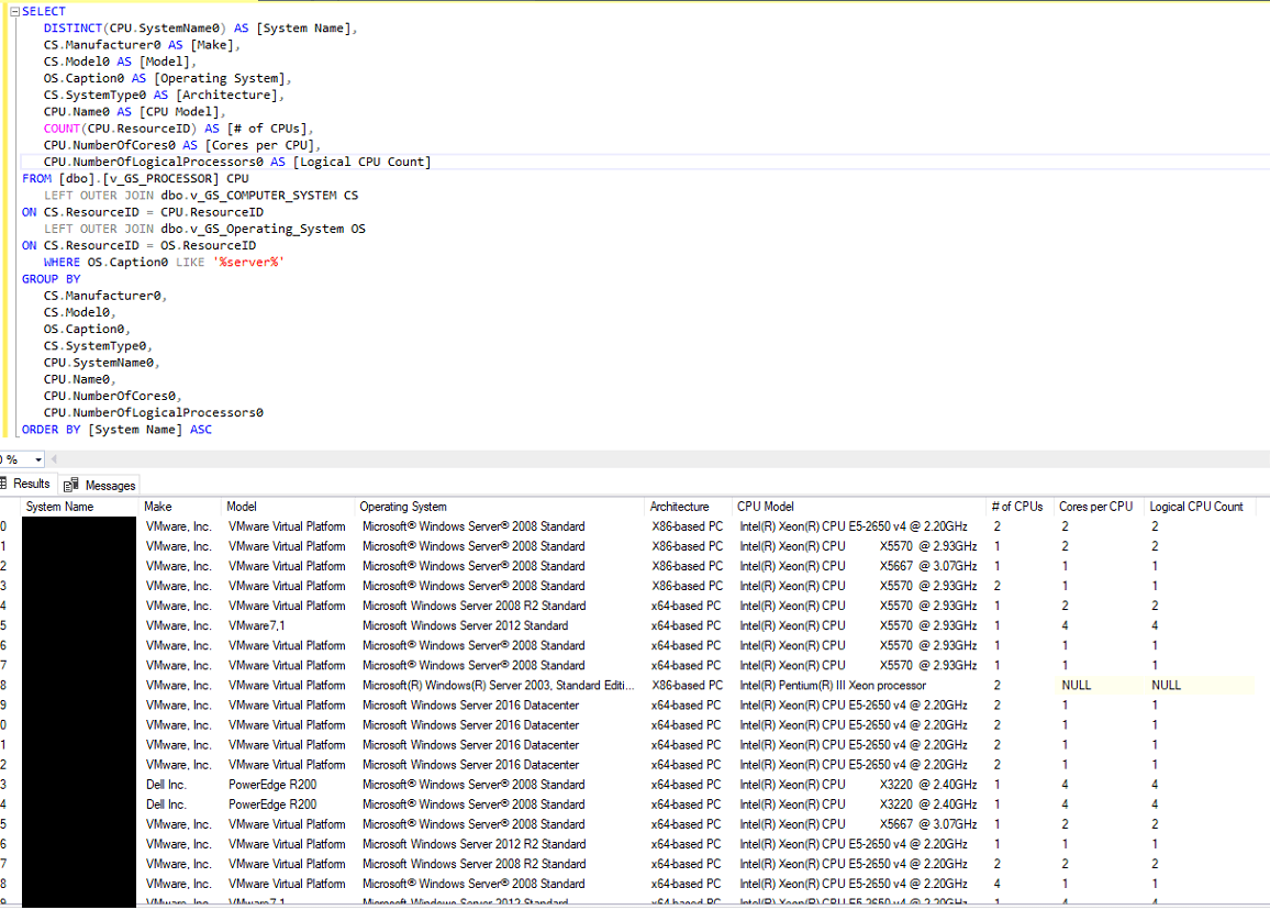 SCCM - SQL Query for all server CPU information - TechyGeeksHome