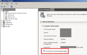 Server Manager 20082 R2 Console