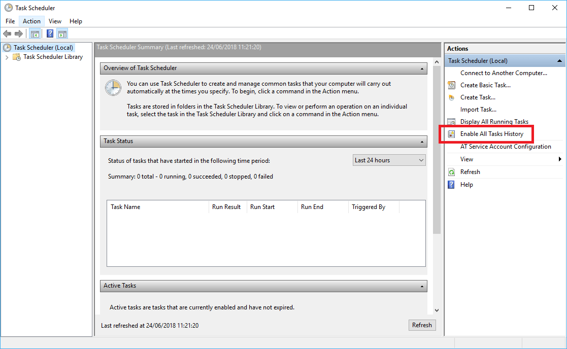 Enable Windows Task Scheduler History - TechyGeeksHome