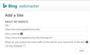 Bing Search Console Submit URL