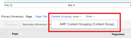 Google Analytics Content Grouping Dropdown