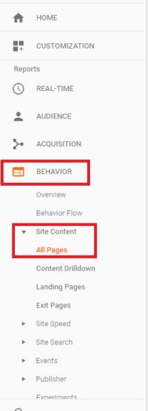 Google Analytics Behaviour Menu