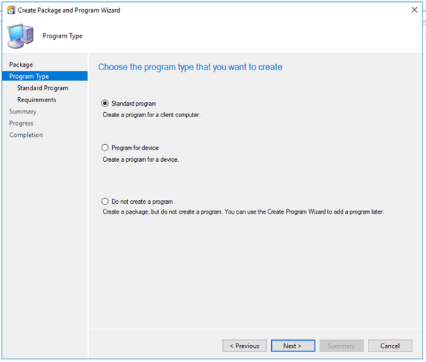 SCCM Program Create a standard program