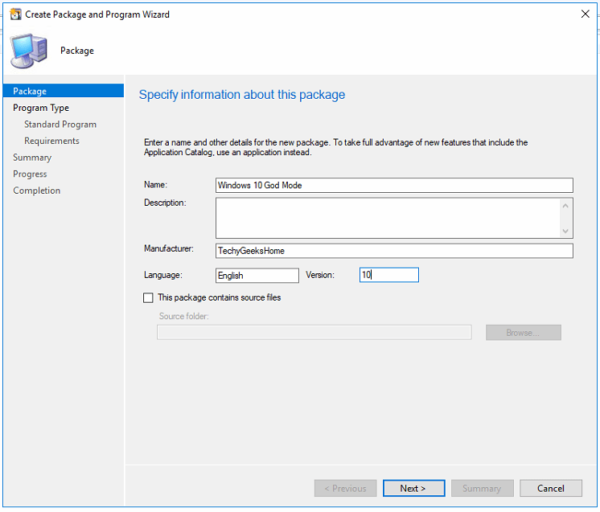 Windows 10 God Mode Create a SCCM Package with no source files