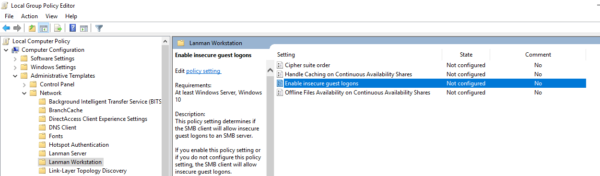 Group Policy to enable insecure guest logins
