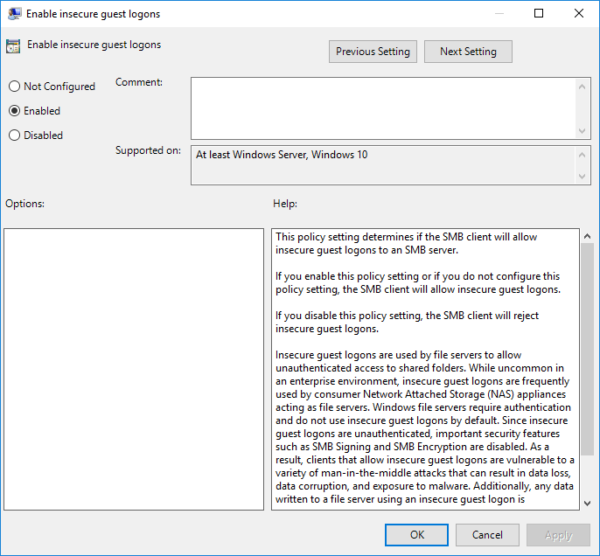 Group Policy for guest shares