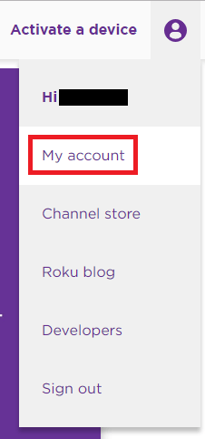 Roku My Account drop down menu