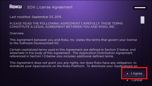 roku agreement screen