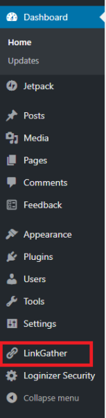 LinkGather Admin Menu Option