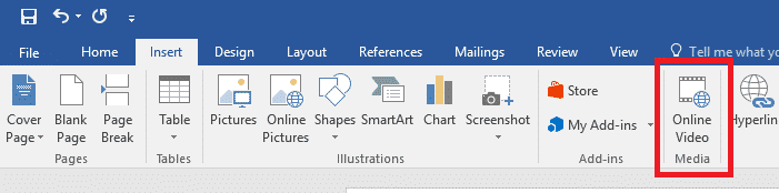 Microsoft Word Insert Ribbon Bar Online Video Button