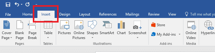 Microsoft Word Insert Ribbon Bar