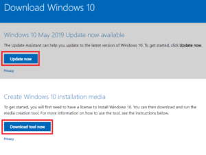 Microsoft Windows 10 Methods for upgrade to Windows 1903
