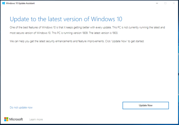 Windows 10 Update Assistant Wizard Page 1