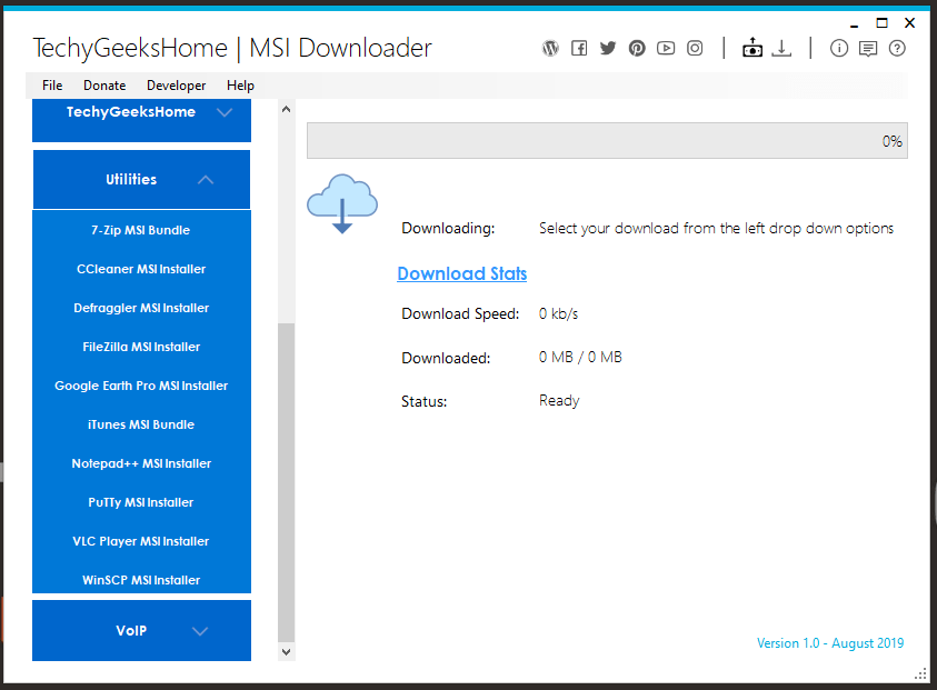 MSI Downloader Expanded Categories