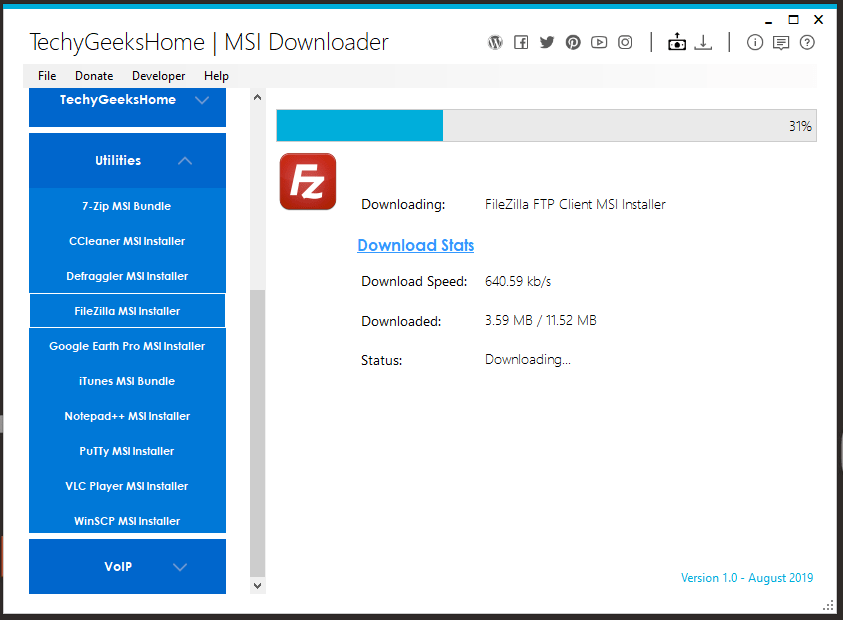 MSI Downloader FileZilla Download Stats