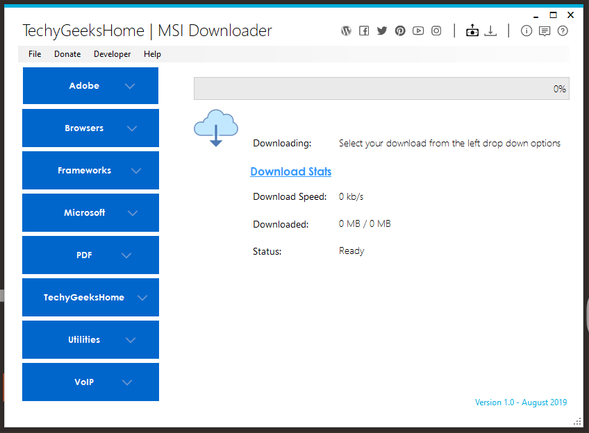 MSI Downloader Start Screen