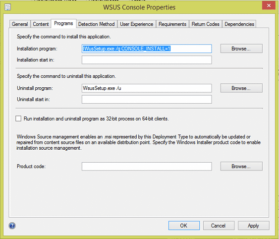 WSUS Console Parameters for SCCM Install