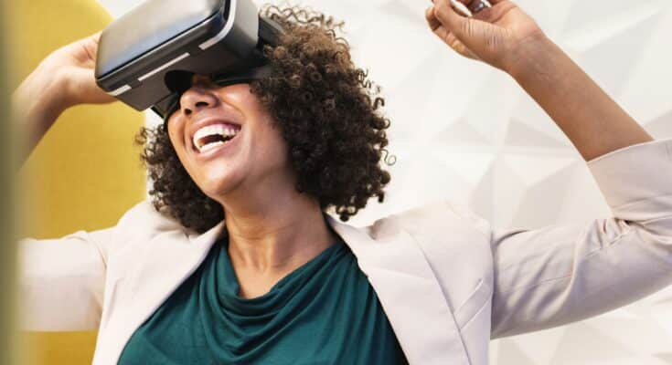 virtual reality headset with an excited woman