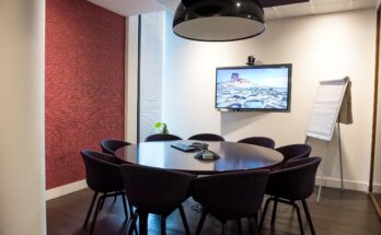 teleconference meeting room with table and chairs