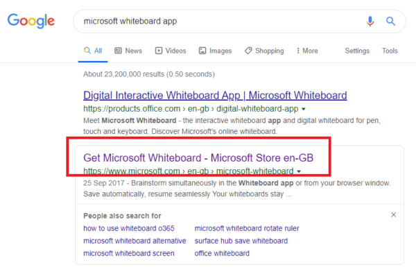 Google Search for application URL