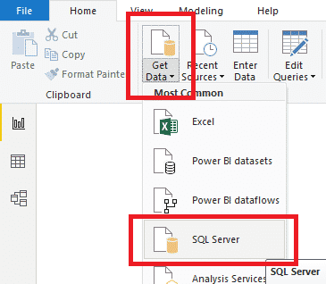 Power BI Get Data SQL Data