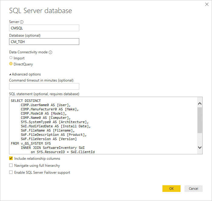 Power BI Get Data SQL Query DirectQuery