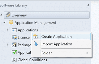 SCCM Create a new Application