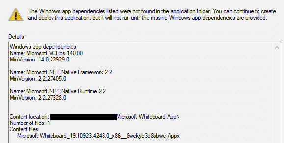 SCCM Deployment Wizard Summary Page Warnings