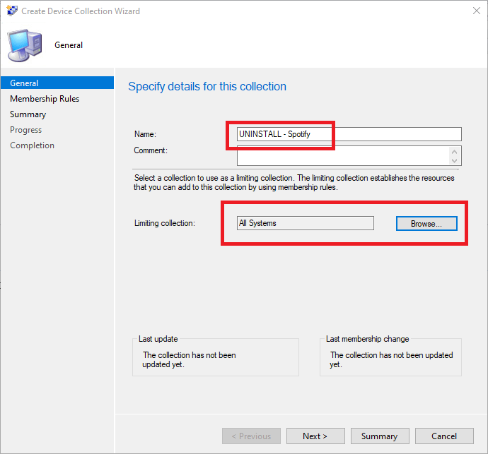 SCCM new device collection name and limiting collection