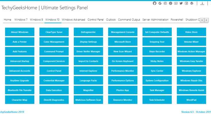 Ultimate Settings Panel Windows 10 Page Version 6.5