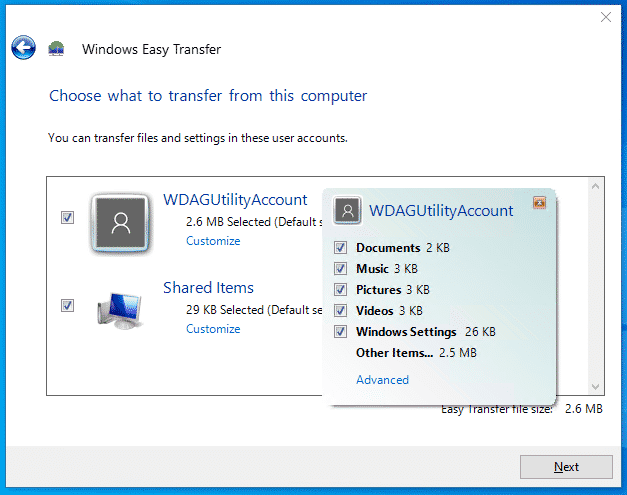 Windows Easy Transfer Choose what to backup
