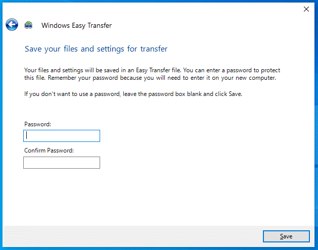 Windows Easy Transfer Password Protection