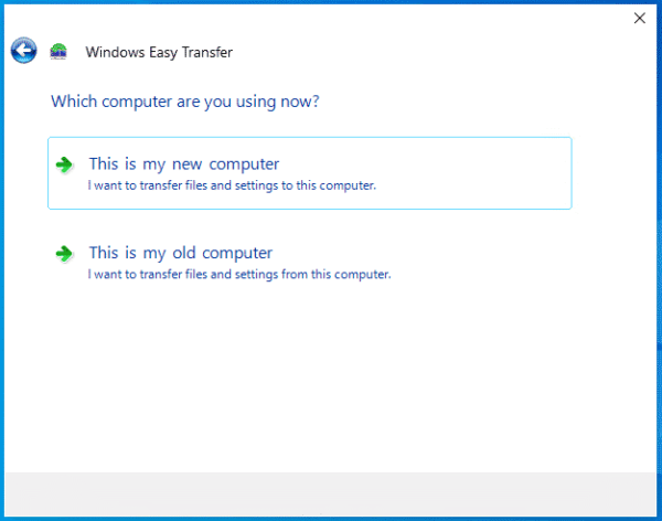 Windows Easy Transfer This is my new computer